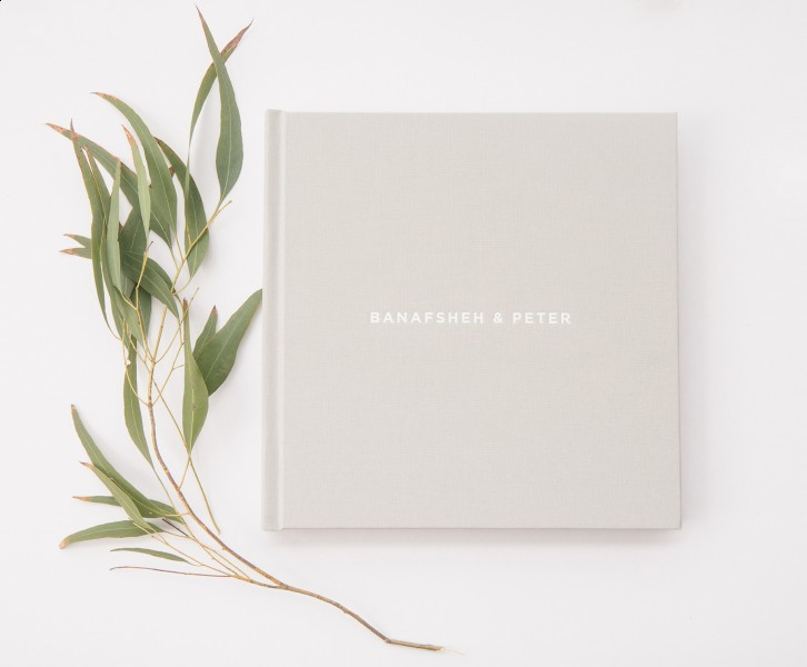 custom dove grey and white embossed wedding album by vancouver wedding photographer www.lucida-photography.com