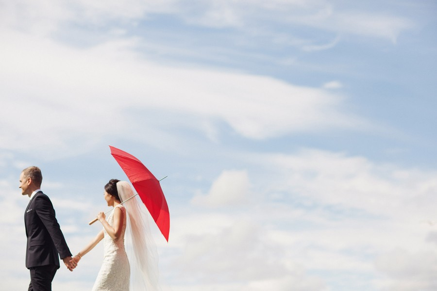 Bride With Red Umbrella At Modern Chinese Vancouver Wedding Www Lucida Photography
