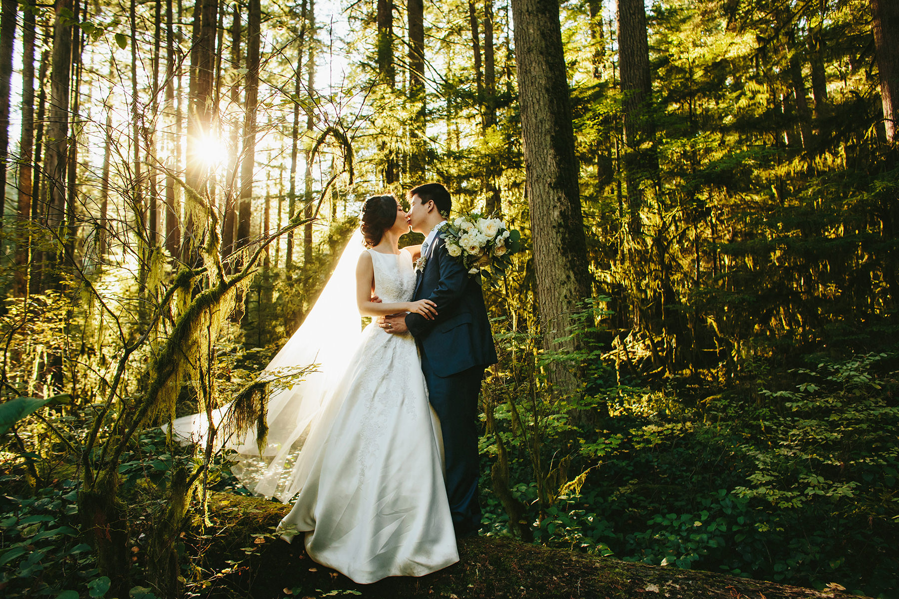 a couple kisses in a wedding portrait in the rain forest near Vancouver, BC www.lucida-photography.com