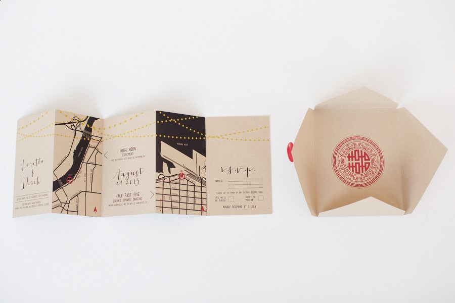 modern Chinese wedding stationery on kraft paper www.lucida-photography.com