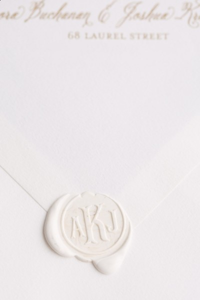 white on white stationery with white wax monogram seal www.lucida-photography.com