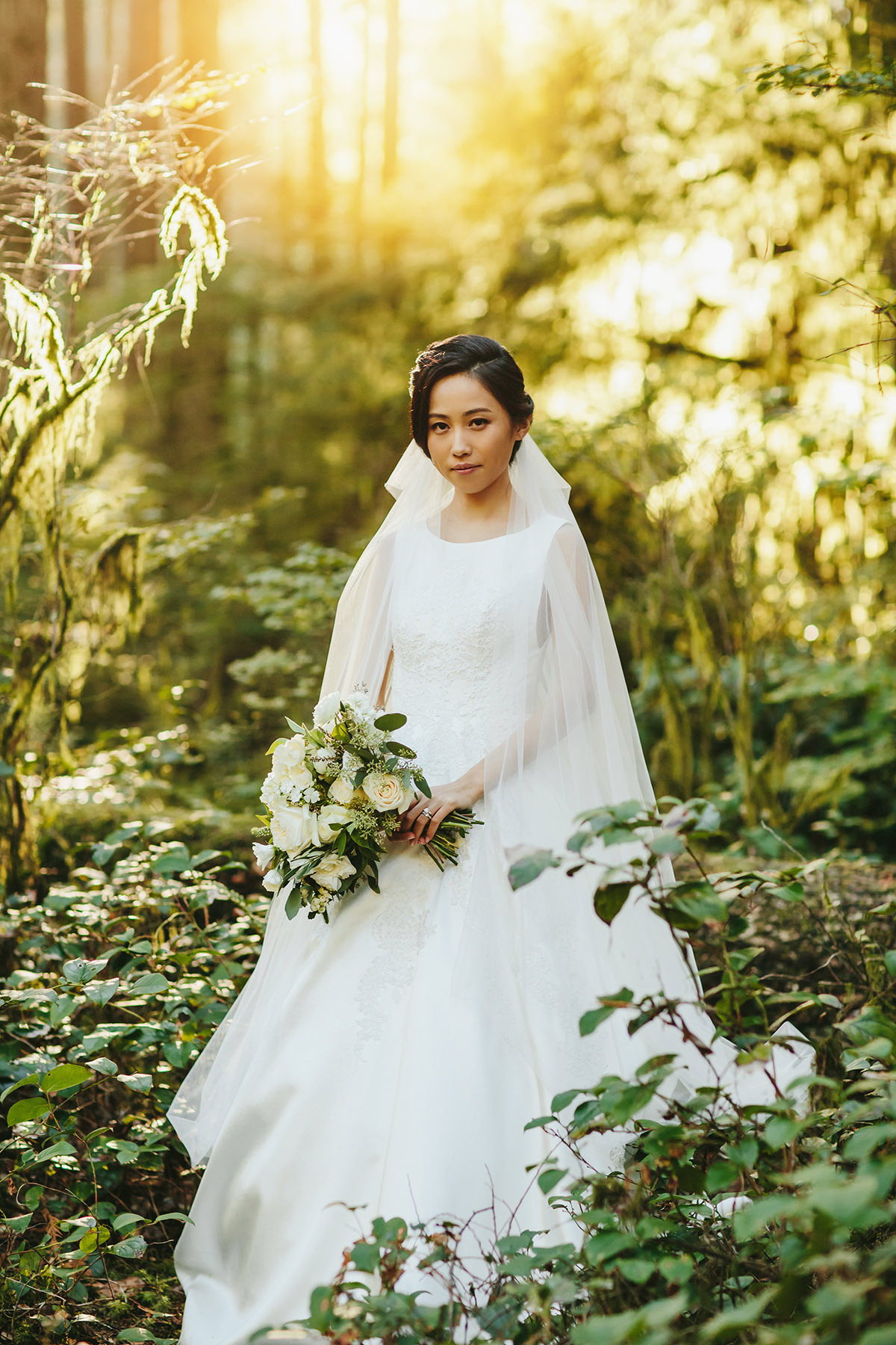 bride in Vancouver forest photo www.lucida-photography.com